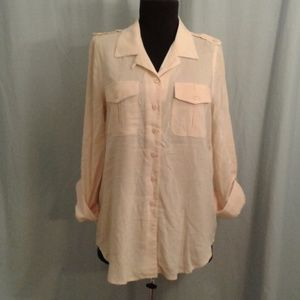 Odille 6 Cargo Shirt  tab sleeves buttercream